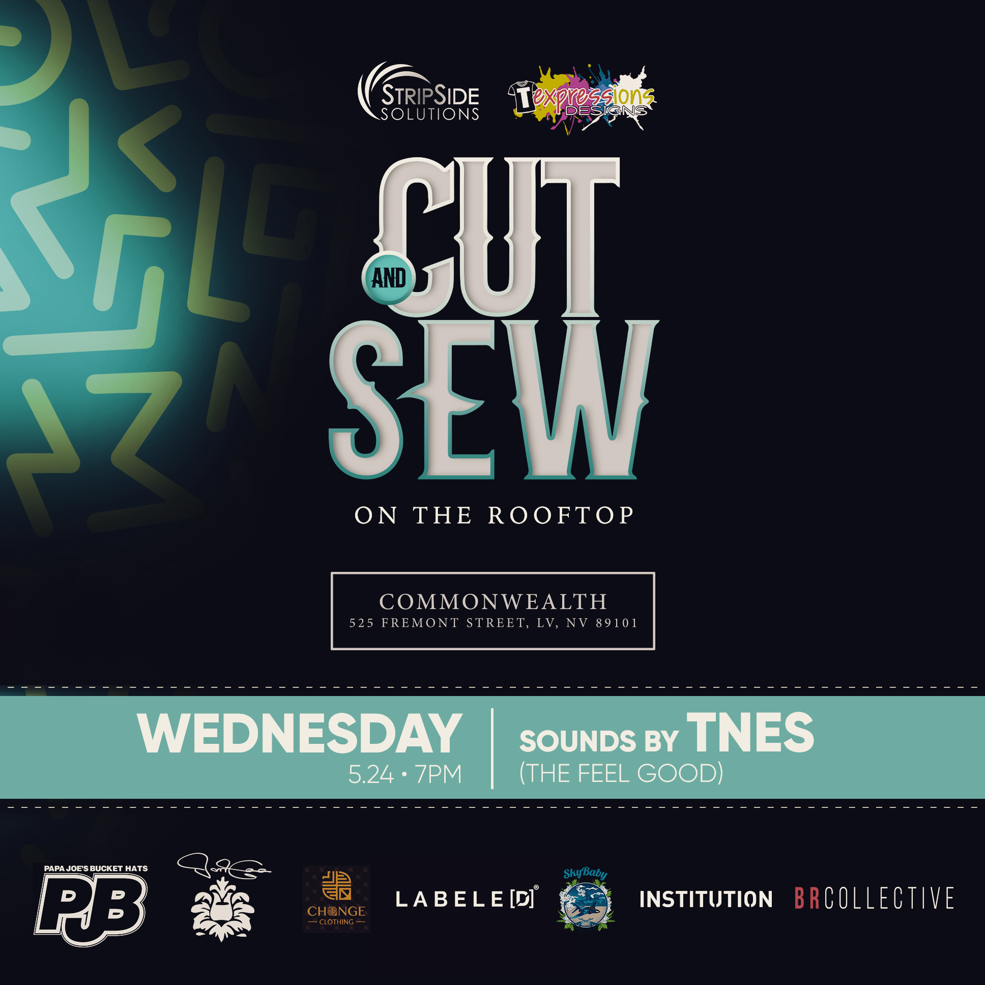 CUT AND SEW brought to you by StripSide Solutions and TExpressions Designs from 7pm-10pm.