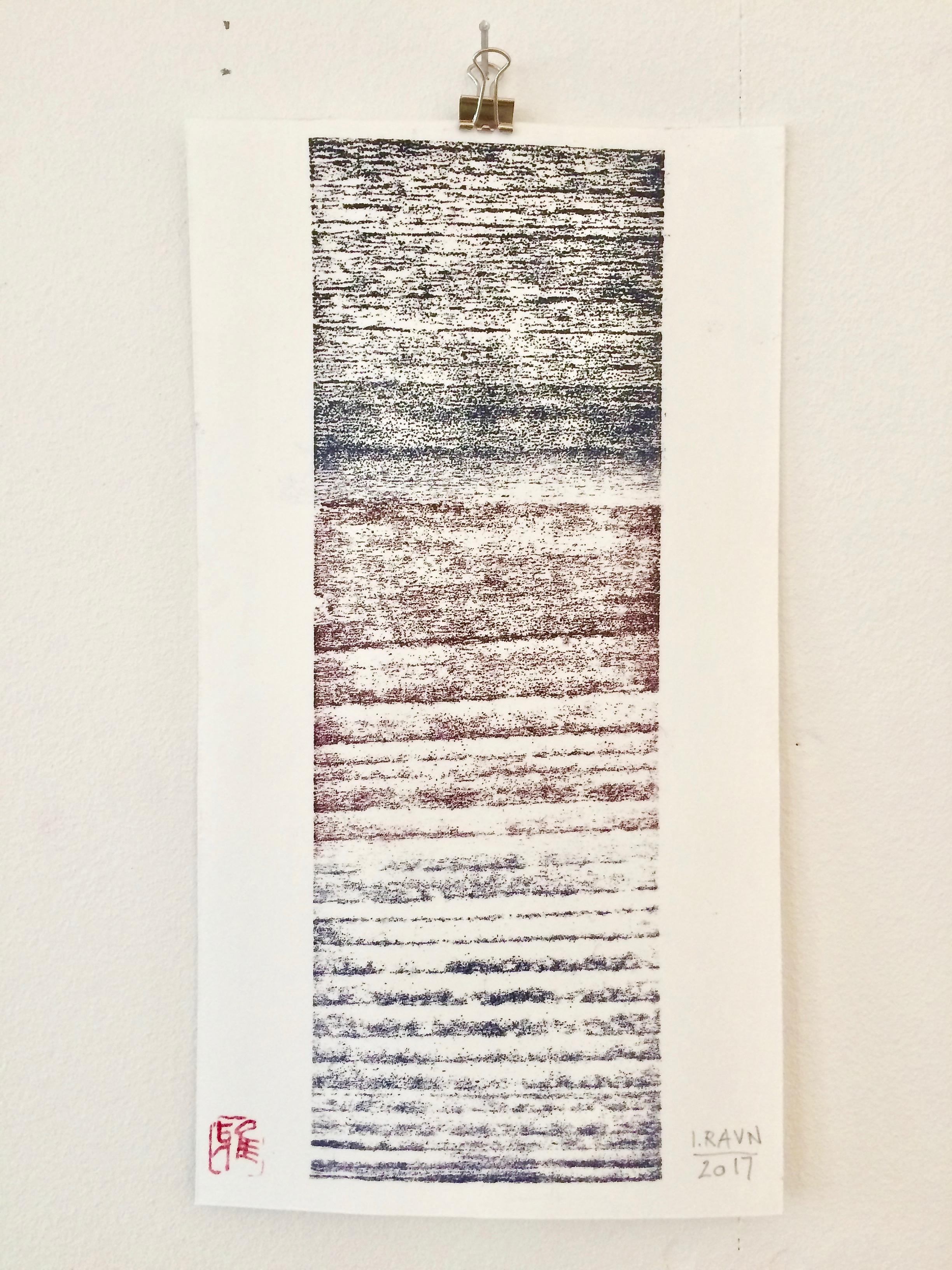 """Memory""   woodcut 27 x 14,6 cm monoprint on Japanese Washi Paper Bamboo Select 170 g"