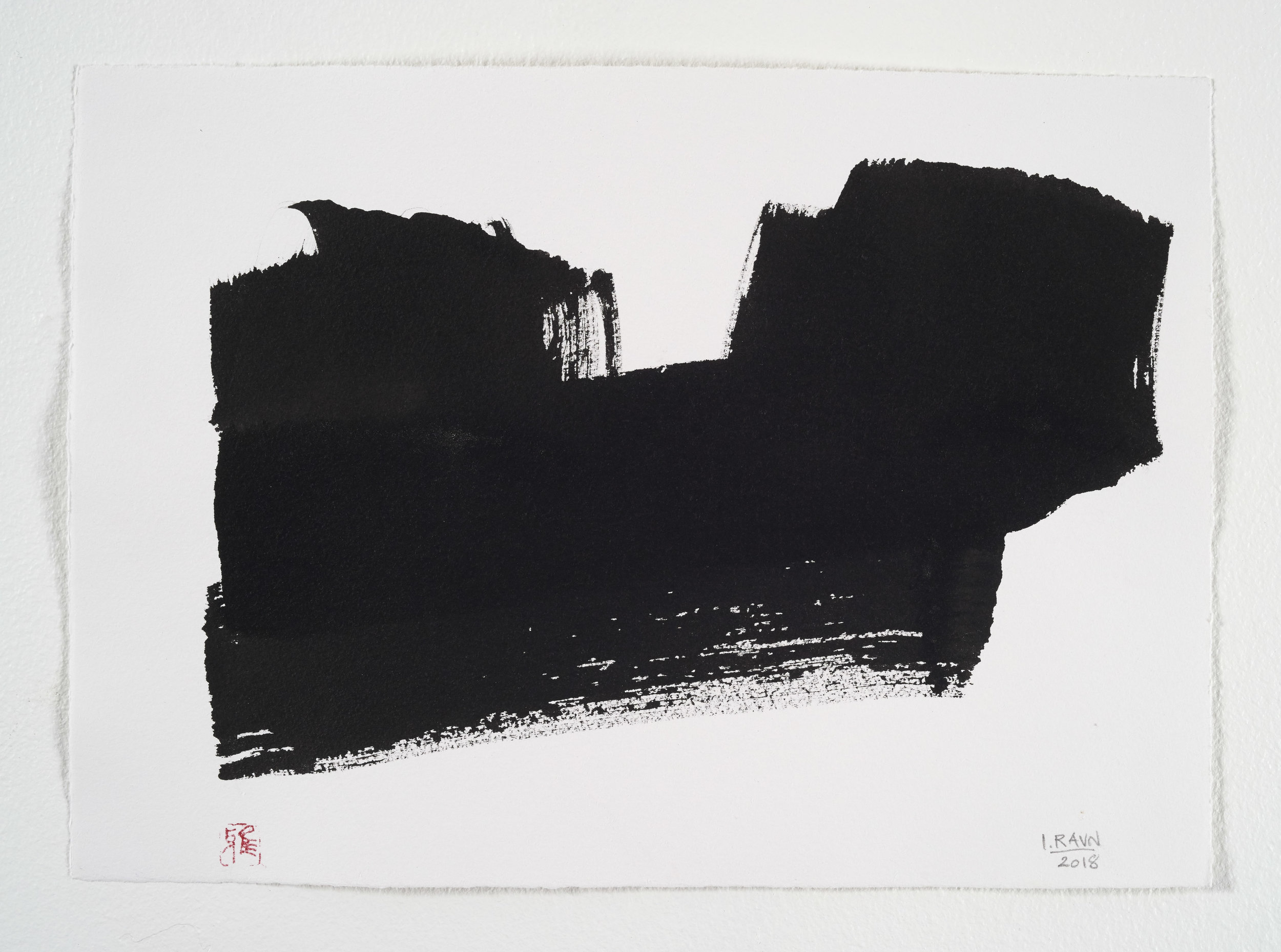 Kaligrafisk landskab / Island  tusch på papir 40 x 50  2018