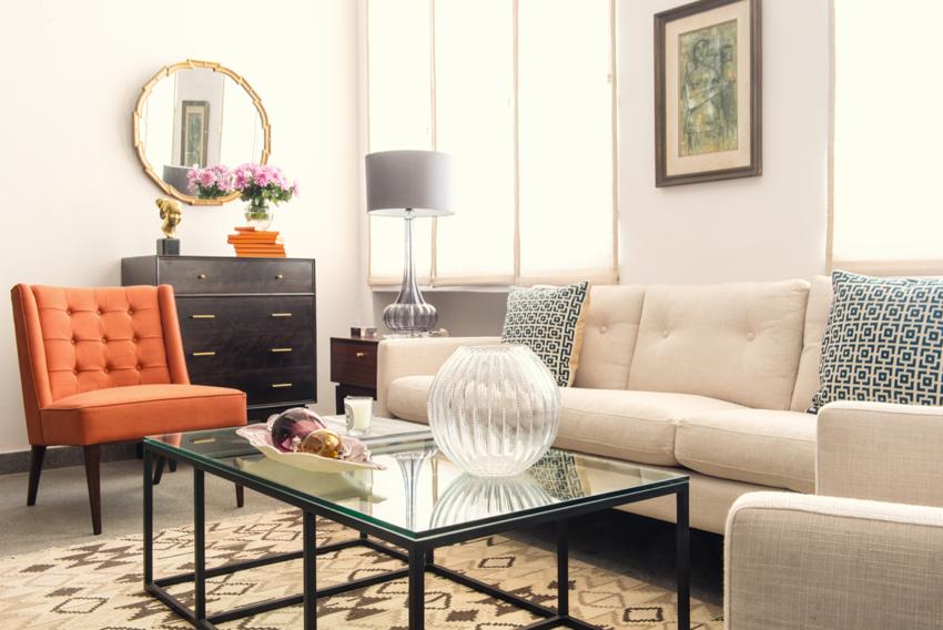 Hermes Orange midcentury modern living room