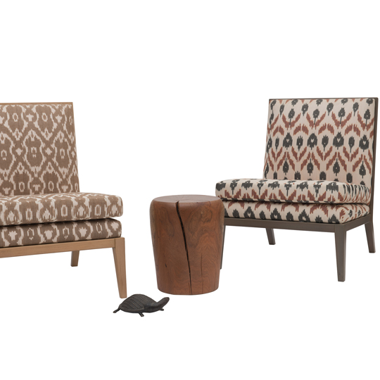 Madeleine chairs in ikat and Mimosa stool
