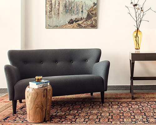 albert's study with Peggy curved sofa
