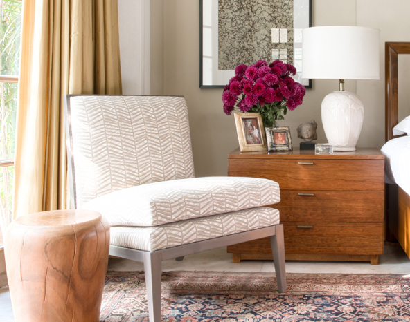 Bedroom featuring Madeleine slipper chair