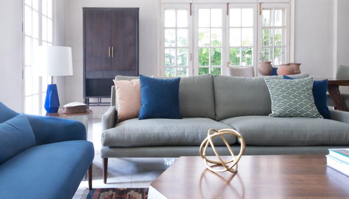 Contemporary blue green living room