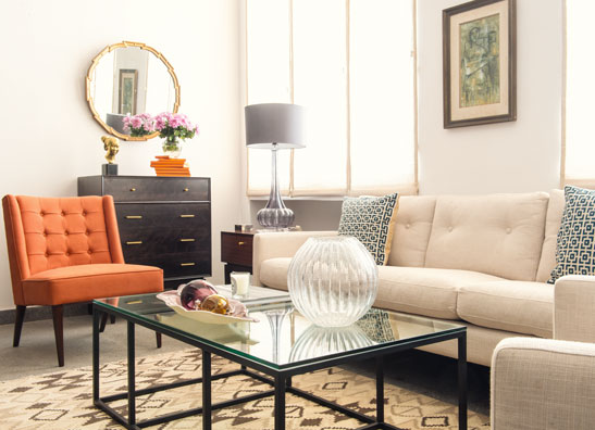Hermes Orange Midcentury Modern Living Room