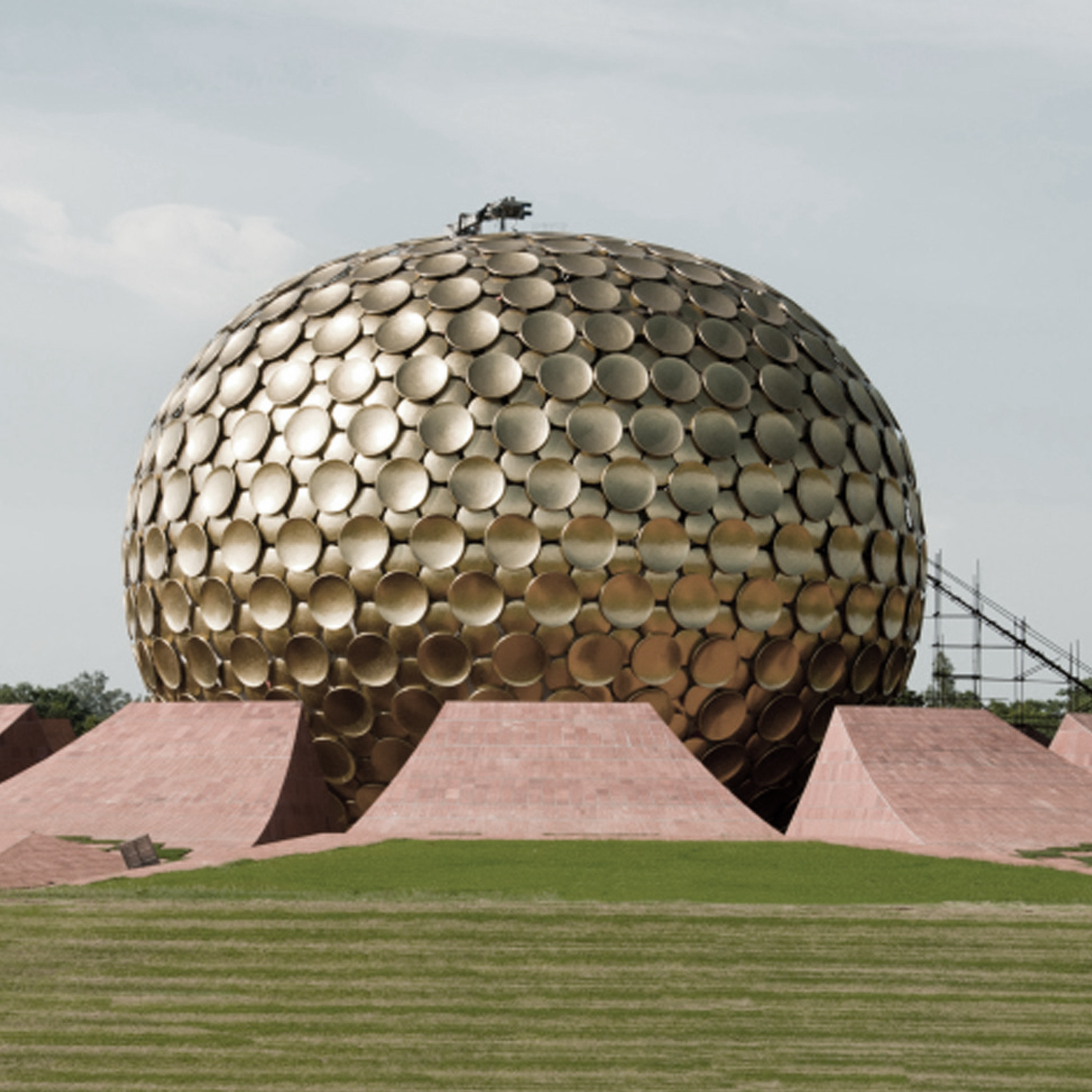 The  Matrimandir  is the centre of French architect Roger Anger's plan for the township of Auroville.