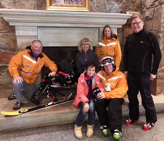 Mary Chambers with Ogden Valley Adaptive Sports board members David Wardrop, Dave Delcarlo, Lisa Karam-Fuller, Cindy Conlin, and Rich Koski