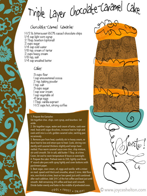 Triple Layer Cake Illustrated Recipe ©Joyce Shelton
