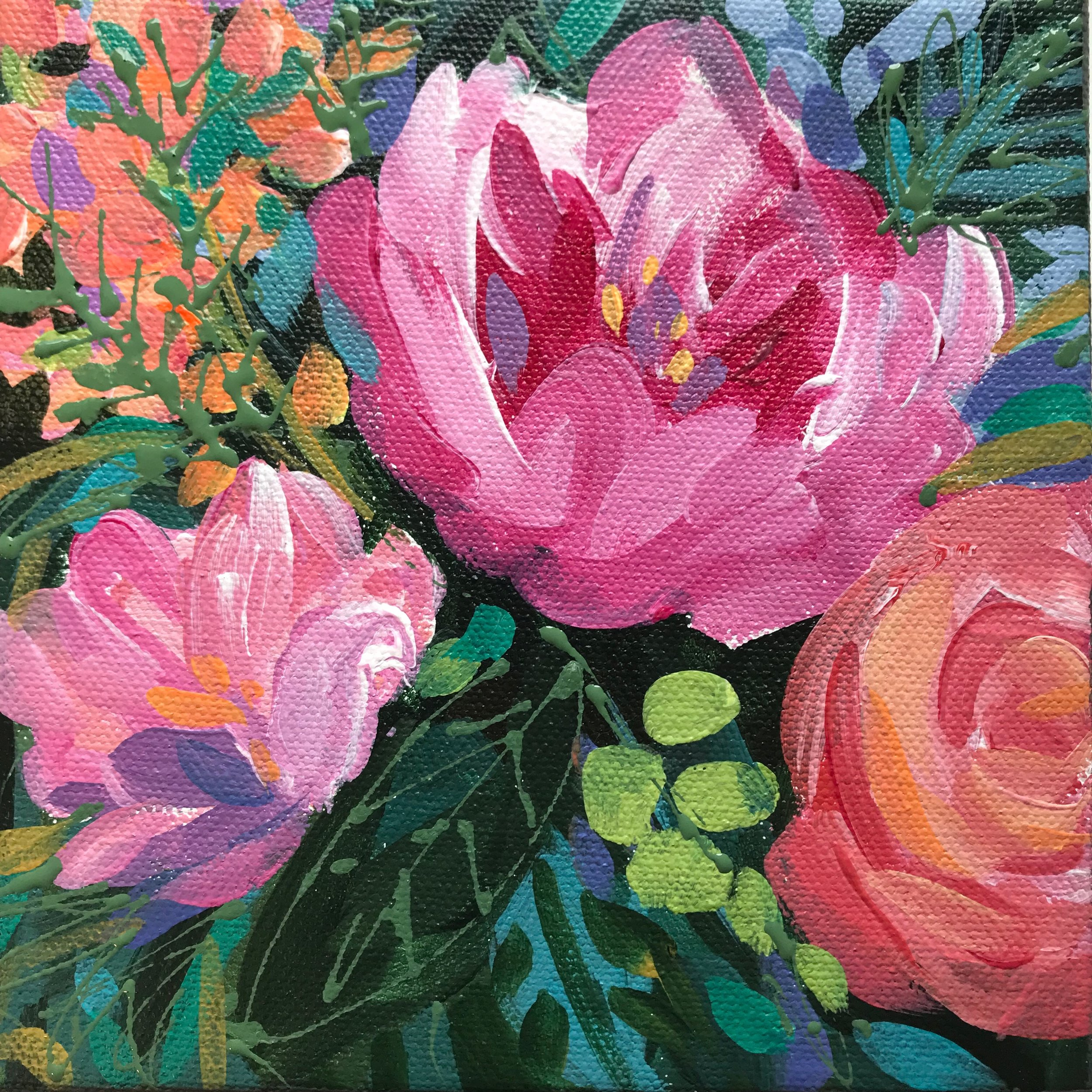 SOLD!   30/30 Day 2 • FLORAL 6X6 Acrylic On Gallery Wrap Canvas