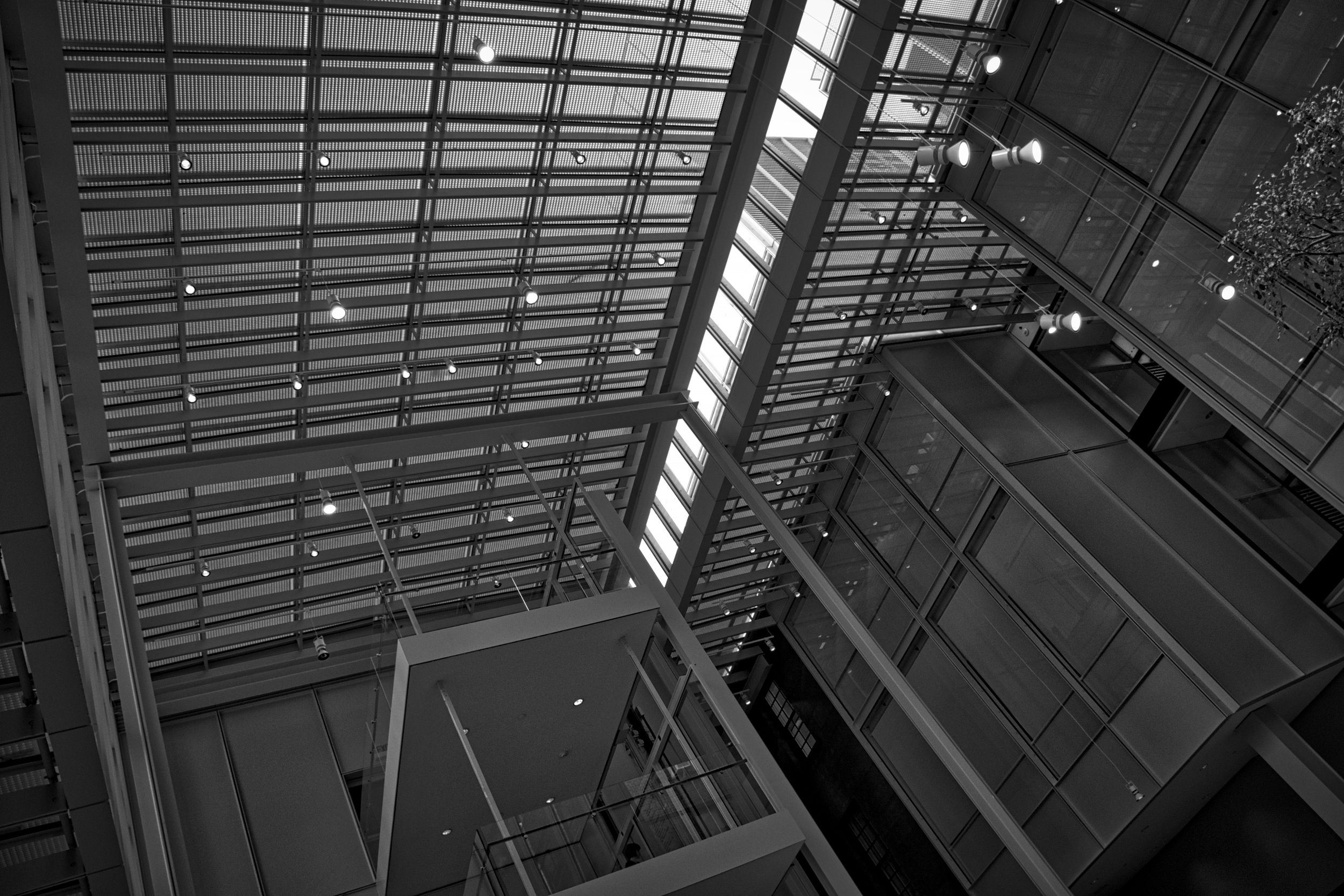 Looking up into the modern addition