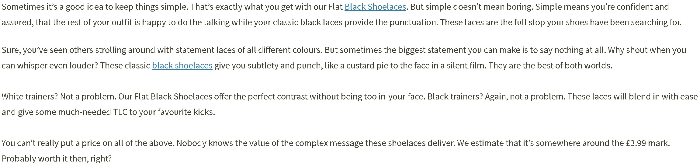 One of my descriptions for a pair of black shoelaces.