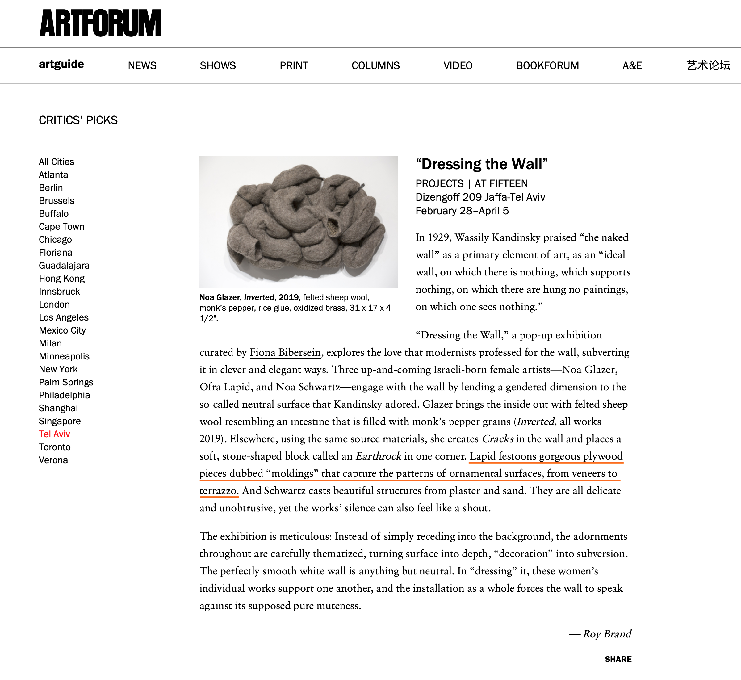 Review at Artforum, March 2019
