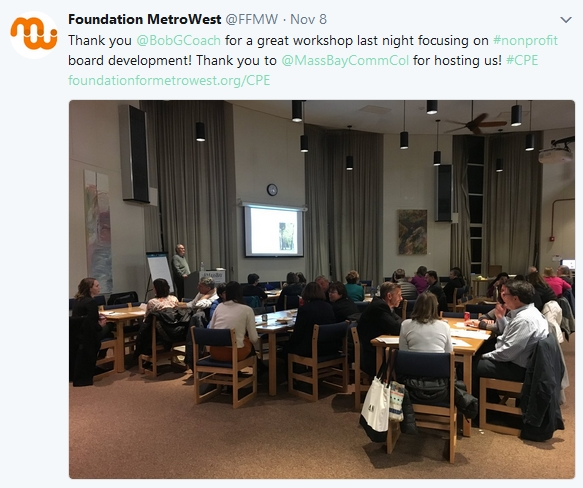 A Tweet from the Foundation for MetroWest who sponsored my November 2017 workshop on nonprofit board development.
