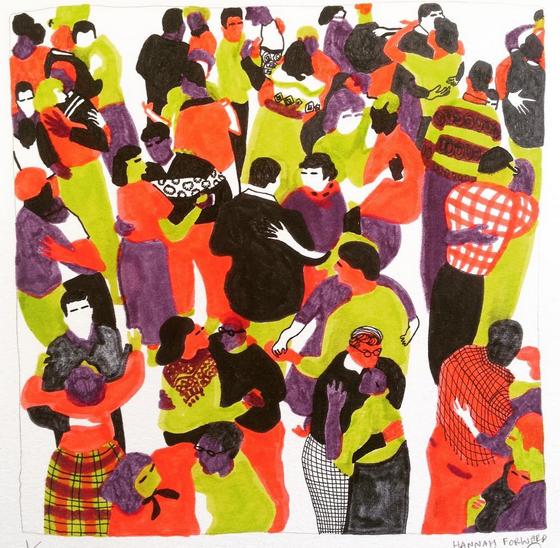 Couples Dancing - linocut composition - felt pens and black fineliner