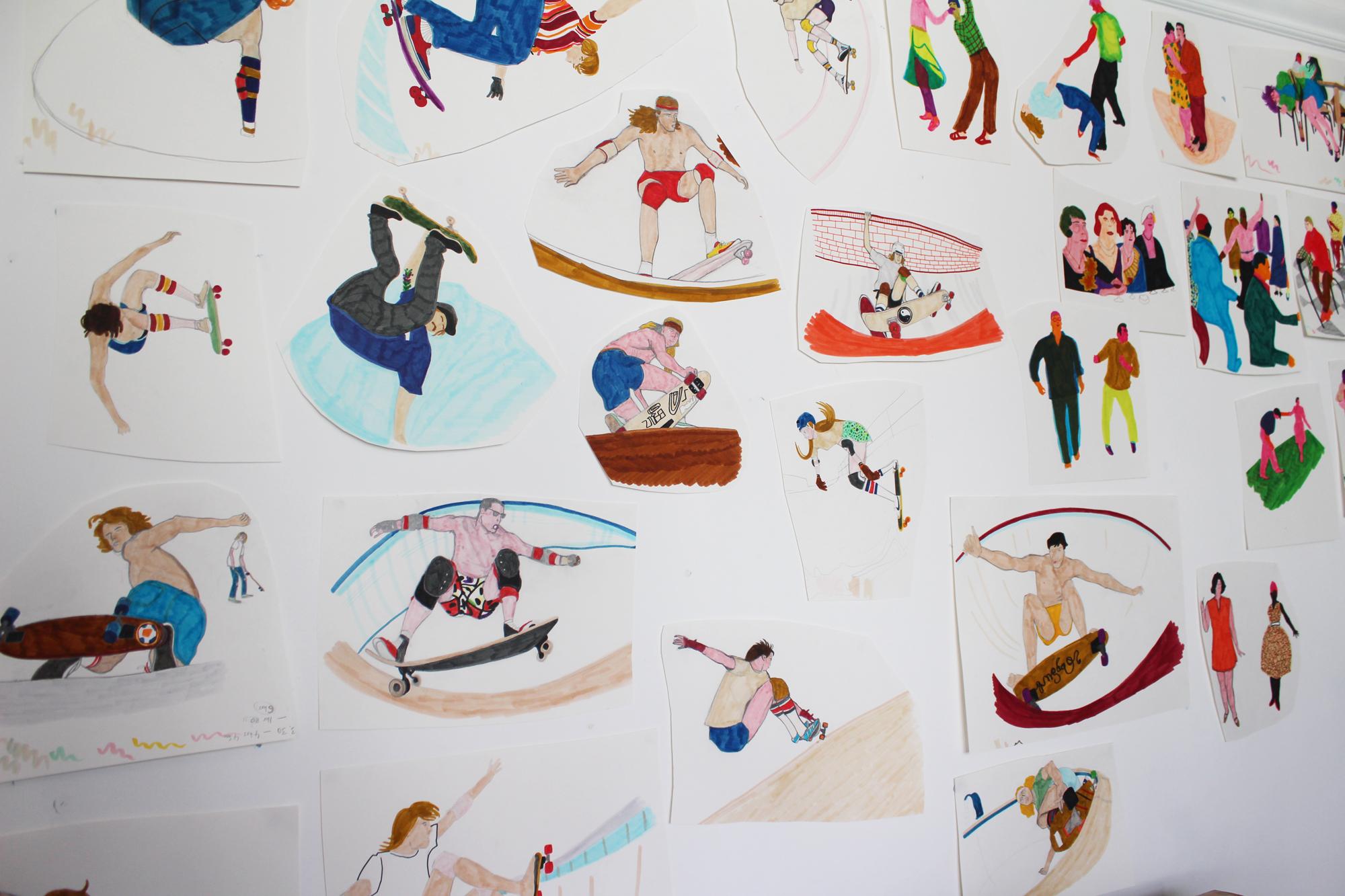 Pool Skaters and Jazz Club original drawings on studio wall