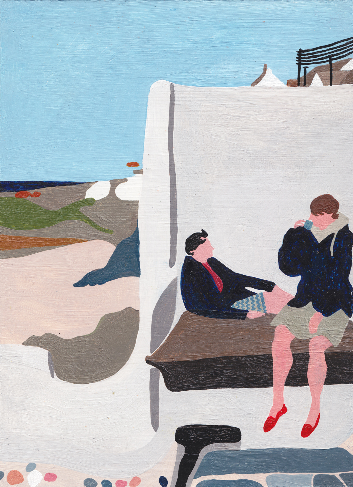 'Holiday' acrylic and watercolour on MDF board