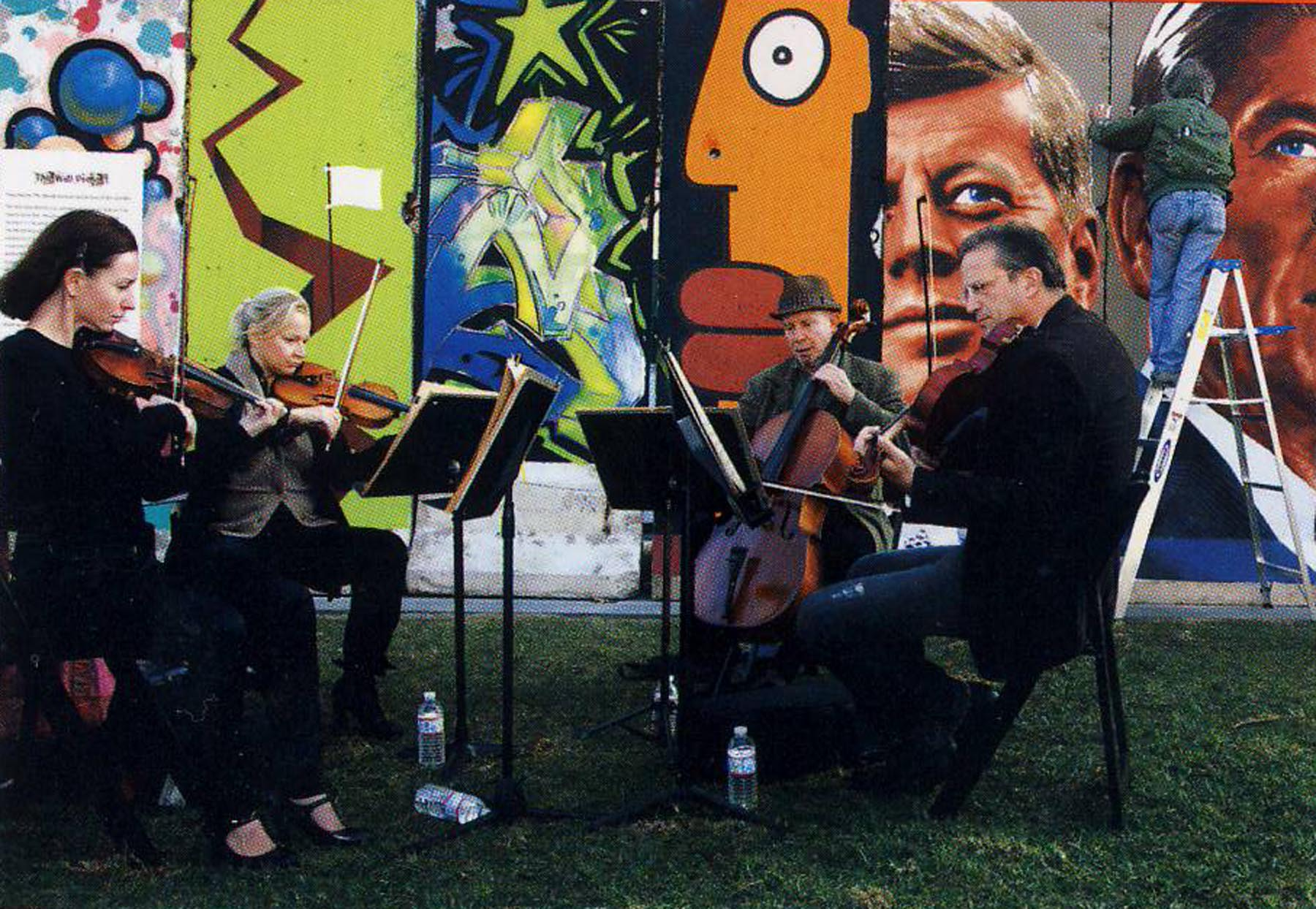 The Wende Quartet performs as Kent Twitchell paints the Wall