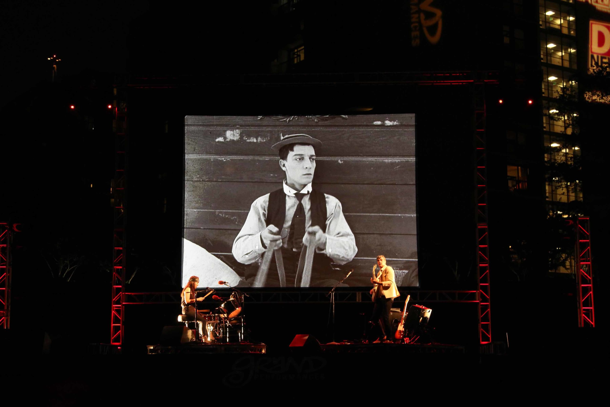 Magnetix playing a live soundtrack to the Buster Keaton silent film,  Cops