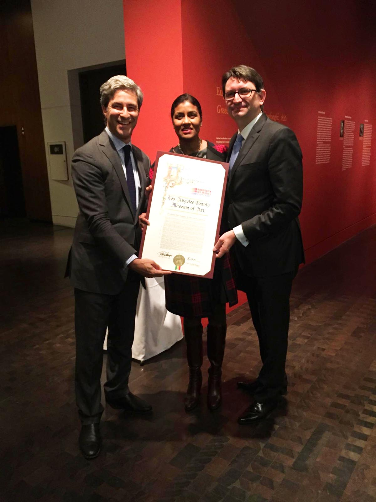 Director of the Los Angeles County Museum of Art (LACMA), Michael Govan,Kamilla Blanche and Axel Cruau,Consul General of France
