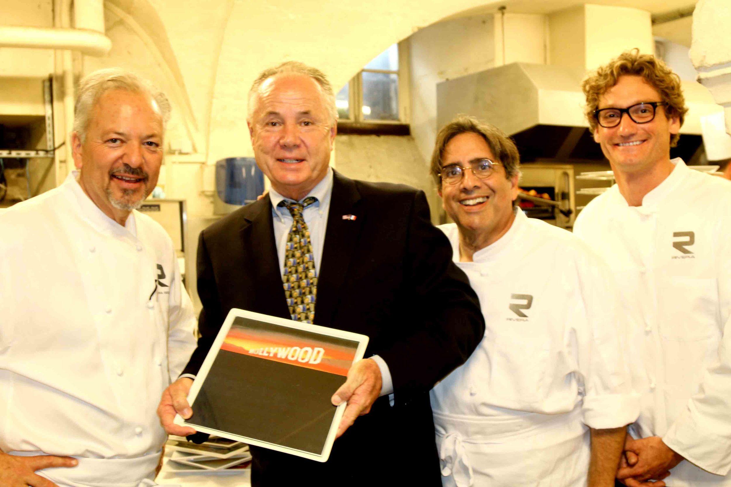Chef John Sedlar, Councilmember Tom LaBonge, Norman Kolpas and Andrew Douglas, Rivera Restaurant