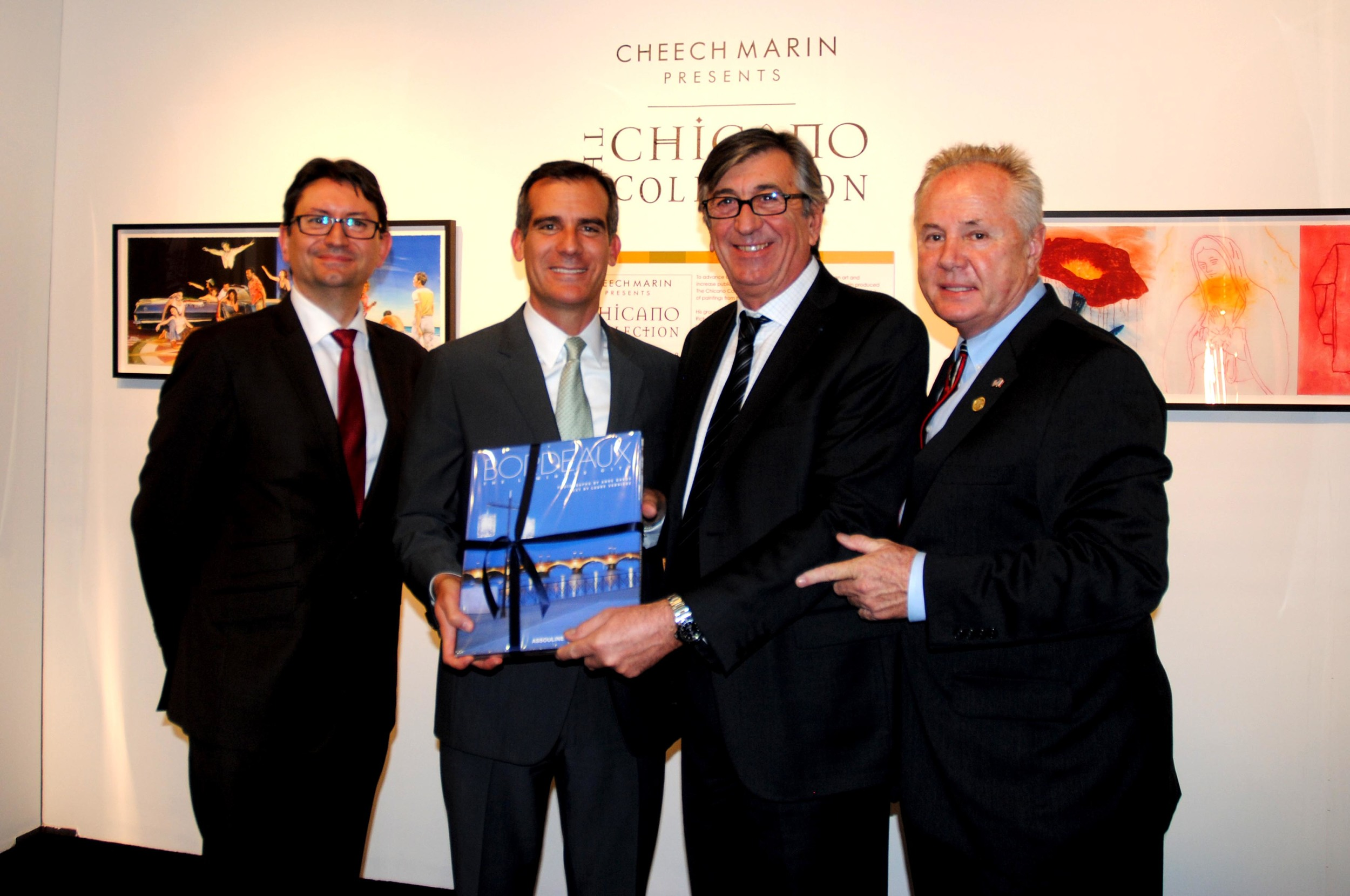 Axel Cruau, Consul General of France, Eric Garcetti, Mayor of the City of Los Angeles, Stephen Delaux, Deputy Mayor of Bordeaux, Councilmember Tom LaBonge, Council District 4