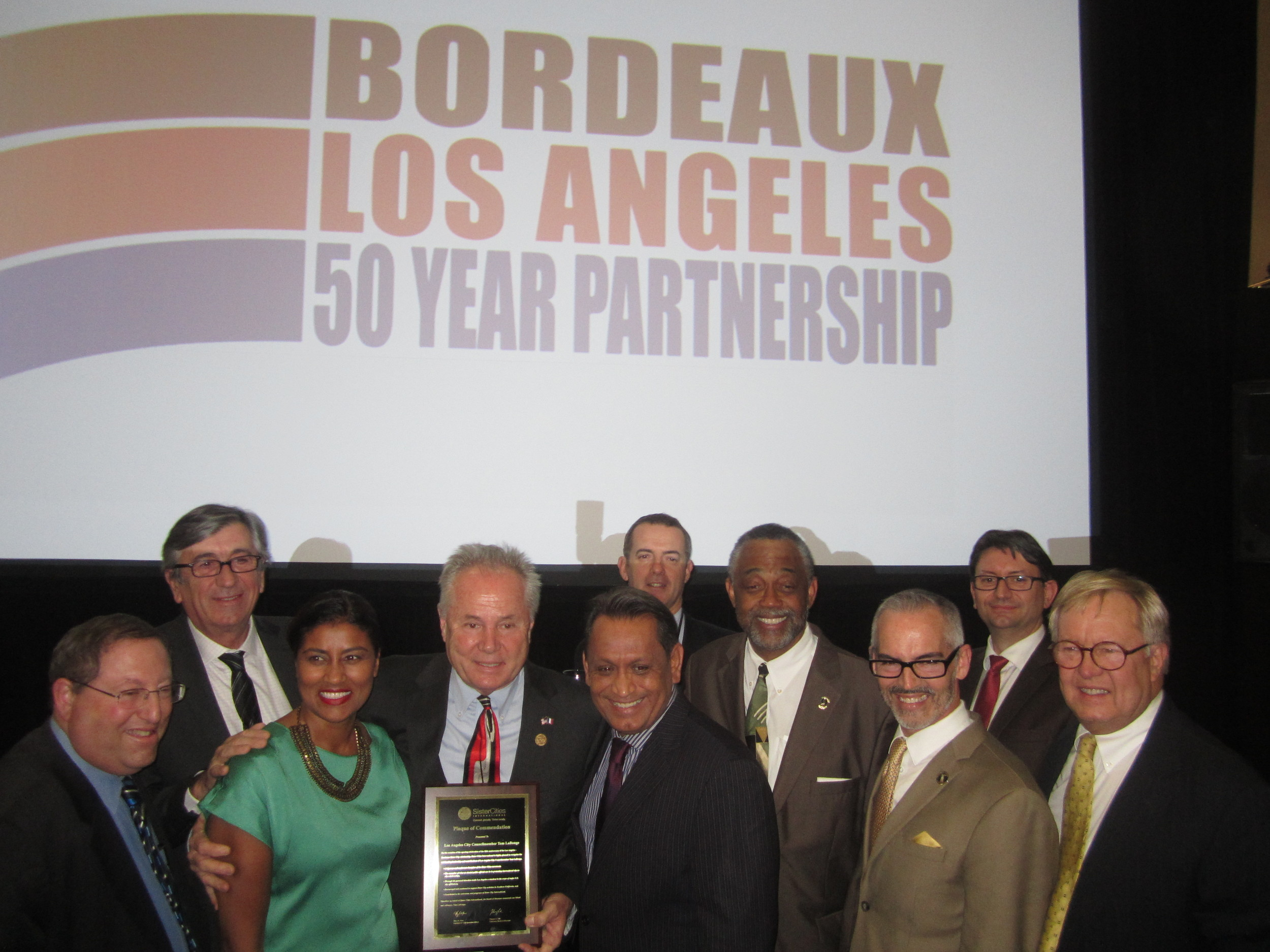 Councilmember Paul Koretz, Council District 5, Stephen Delaux, Deputy Mayor of Bordeaux, Kamilla Blanche, Councilmember Tom LaBonge, Council District 4, Councilmember Gil Cedillo, Council District 1, Councilmember Curren D. Price, Jr., Council District 9, Councilmember Mitch O'Farrell, Council District 13, Axel Cruau, Consul General of France, Bill Boerum, Chair Emeritus of Sister Cities International
