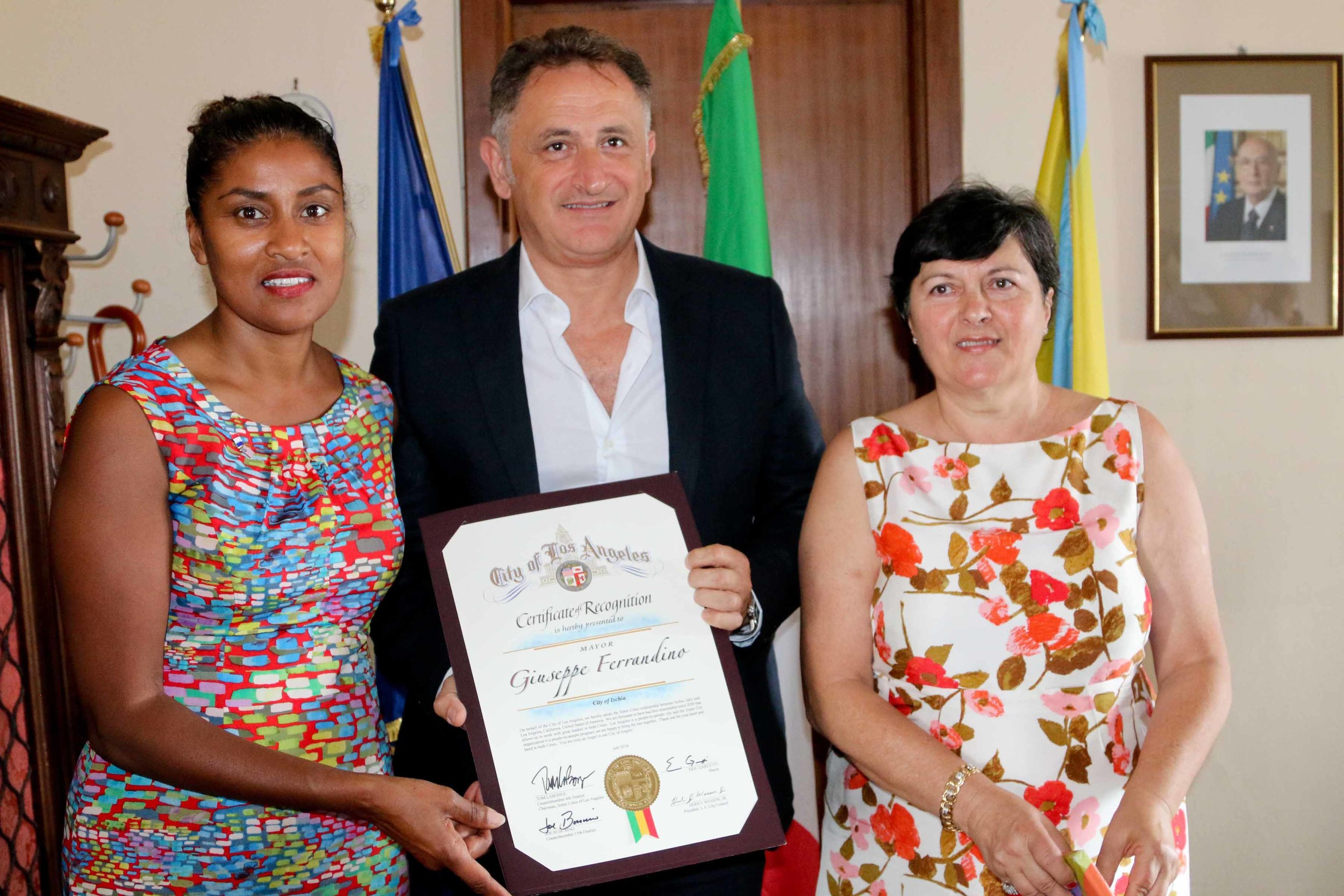 Director of Sister Cities of LA, Kamilla Blanche, Mayor of Ischia, Giuseppe Ferrandino and President of Ischia Sister cities of LA, Carmella Fornicello