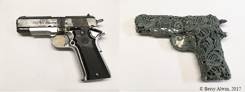 """This Spring I am participating in Pillsbury United Communities' Art is My Weapon initiative to address violence. Artists in the Minneapolis area were given destroyed weapons to make art with for various exhibitions throughout the year. I was able to find both parts of this handgun and reassemble it temporarily. I have covered it with lace and I will make a mold of it to cast it in ceramic.  I have a very personal connection to gun violence. My only sister killed herself with her husband's handgun. The details of her death are graphic. What led to her having access to the gun is somewhat unclear, but it was assumed that her husband left the unlocked gun case out for her to shoot herself after a quarrel.  Since that horrible event, I have wanted to make a work with a handgun, specifically, make a work of its destruction. I was never able to move myself to purchase a gun for such a project. When the opportunity arose with Art is My Weapon, I thought, """"this is the time."""" I didn't think it would be painful to visit this subject after so many years. I am glad I am doing this project because I realize there are so many feelings that I have not dealt with yet.  Stay tuned for more pictures and info."""