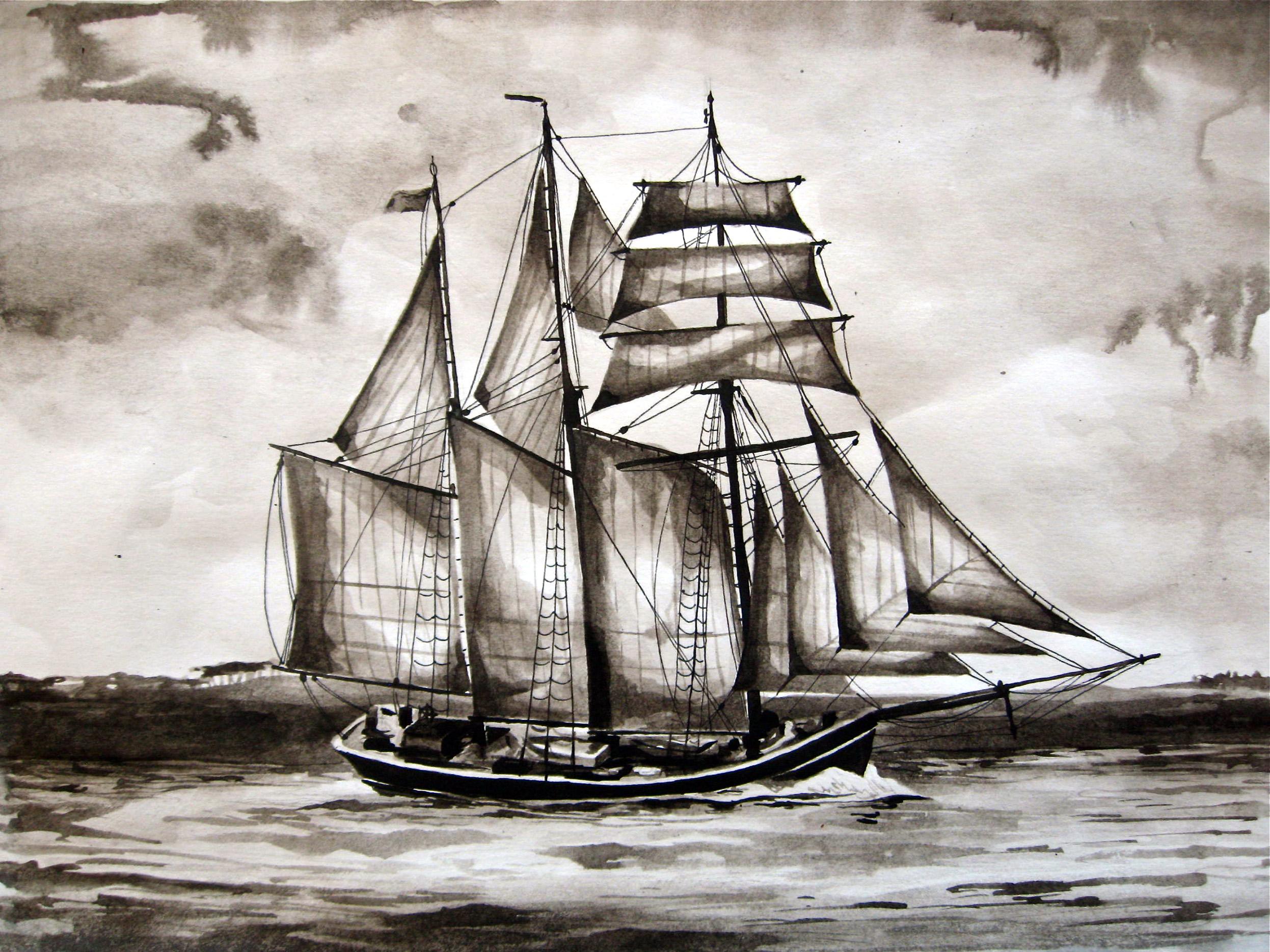schooner ink painting ashleychase.jpg