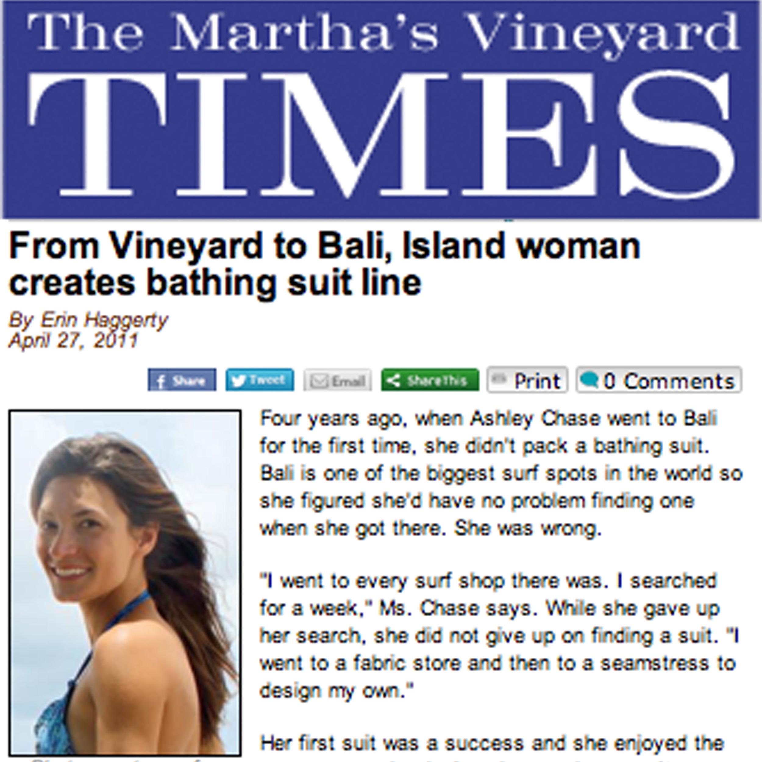 The Marthas Vineyard Times, Bali based swimwear line