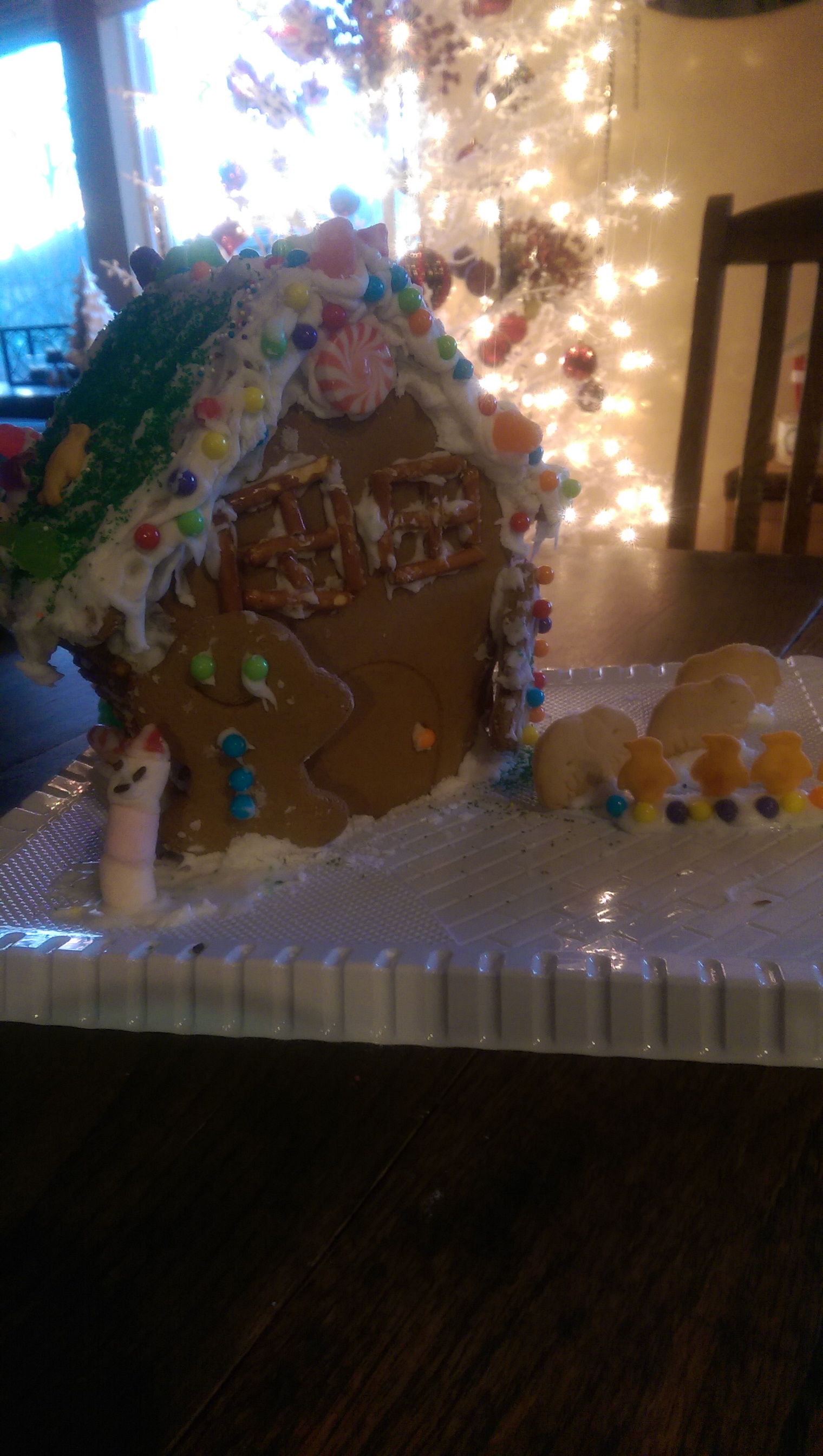 Gingerbread House and Lawn  complete with marshmallow snowman