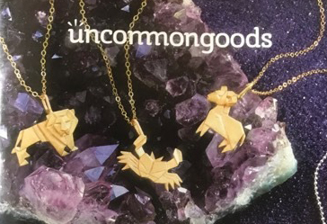 Origami Zodiac Necklaces (all 12 zodiacs available here:  https://www.uncommongoods.com/product/origami-zodiac-necklaces
