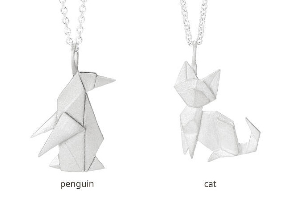 Origami Menagerie 7 different animals available in sterling silver here:  https://www.uncommongoods.com/product/origami-menagerie-necklaces