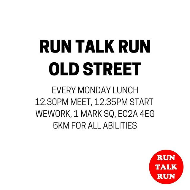 Don't forget your running kit tomorrow, it's @runtalkrun Old Street Monday lunchtime 🙋🏼‍♂️a 5km gentle trot along the canal and back, meeting @wework Mark Square at 12.30pm or WeWork Corsham St at 12.40 🙌🏼🏃🏼‍♂️🏃🏼‍♀️ ⠀⠀⠀⠀⠀⠀⠀⠀⠀ #runtalkrun #talking #london #oldstreet #instarunners #justrun #marathon #marathontraining #running #run #parkrun #5km #runners #race #notarace #summer #ukrunners #fitness #runchat #ukrunchat #worldrunners #instarun #instarunners #runnersofinsta #runnersofinstagram