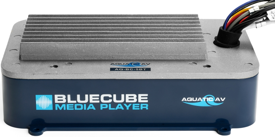 The AQ-BC-5BT BlueCube is a high quality, robust and durable waterproof marine grade stereo designed to be installed hidden away out-of-sight  Plays music wirelessly via a Bluetooth enabled smartphone or MP3 device (wired connection can also be made with stereo RCA inputs). Control music directly from the Bluetooth enabled device or with handheld or wired remote controls (sold separately).  Features an onboard 288W amplifier capable of powering up to 8x speakers, or a combination of speakers and subwoofers, 2x high-quality RCA (phono) pre-outs for connecting an external amplifier (AQ-AD600.4 or AQ-AD300.2) or powered subwoofer.  SPECS:   Supported Media:                                     Bluetooth, MP3   Device Control:                                        via Bluetooth device or remote control (sold separately)   Inputs:                                                        Bluetooth, 1x stereo pair RCA   Outputs:                                                     1x stereo pair RCA (4V)   Power (max):                                             4x 45W (4 Ohms) / 4x 72W (2 Ohms)   Amplifier Type:                                         Class A/B (2 Ohm stable)   Operation Voltage:                                    9.6V – 14.4V DC   Current Draw:                                           6mA (standby), 7A (max)   Waterproof:                                               Yes – IP65    UV Protection:                                         ASTM D4329 compliant, 500hrs stable    Salt/Fog Protection:                                 ASTM B117 compliant, 500hrs stable    Dimensions (HxWxD):                           195 x 119 x 59mm   Additional Features:                                 Stainless Steel mounting hardware