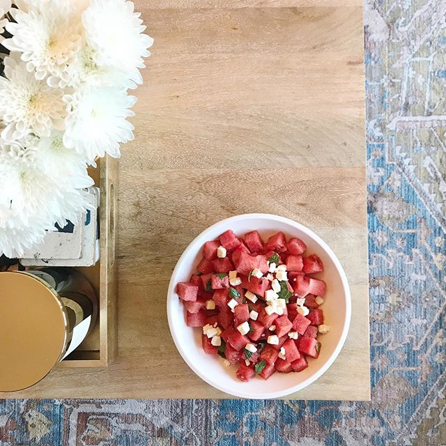 Summer = watermelon + feta + mint (from the terrace) salad 🍉 - #summersalads #summerinabowl #interiors #crownheights #prospectheights #nyc #designinspo #highlow #mywestelm #ighome #instahome #homeinspo #instadesign #welltravelled