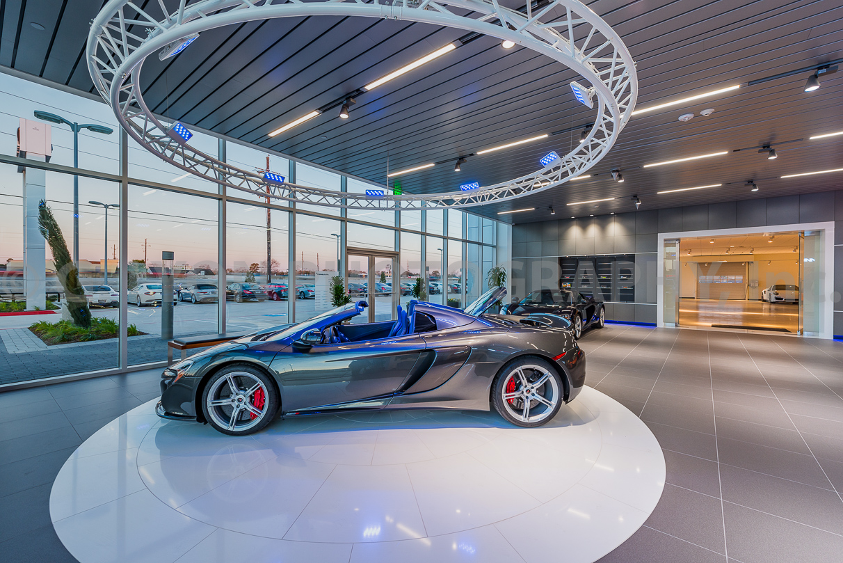 G. Lyon Photography was selected to capture Houston's first McLaren Dealership. The 22,000-sf space has no shortage of beautiful rides.