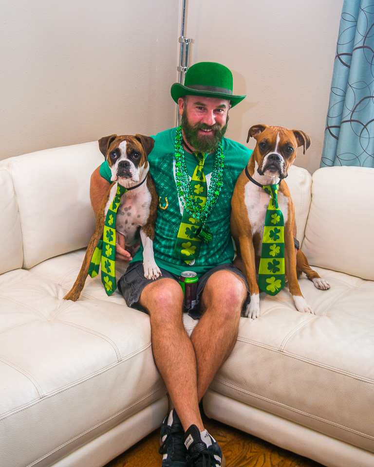 Geoff and his two pups Laci and Maggi sporting Saint Patrick's Day garb.
