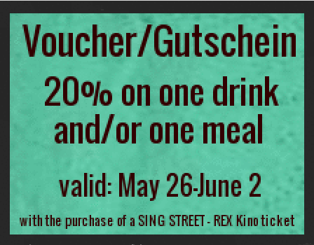 "With our Singer Songwriter Night our neighbours, the REX KINO  http://www.rex-filmbuehne.de/inhalt/rex/plan  - are premiering ""Sing Street"" today and for the next week until June 2. When you buy a cinema entrance for ""Sing Street"" you will receive a Fiddlers voucher/Gutschein!  Irish director John Carney (Once and Begin Again) describes Sing Street: Boy meets girl, girl unimpressed, boy starts band.  Don't miss your chance!"