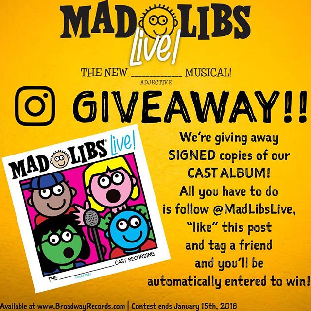 "GIVEAWAY!! Do you want a SIGNED copy of our CAST ALBUM?! It's super easy! All you have to do is follow @MadLibsLive ""like"" this post and tag a friend and you'll be automatically entered to win!! Good (NOUN)! • #Giveaway #Follow #Like #Tag #Friend #Instagram #OriginalCastRecording #MadLibsLive"