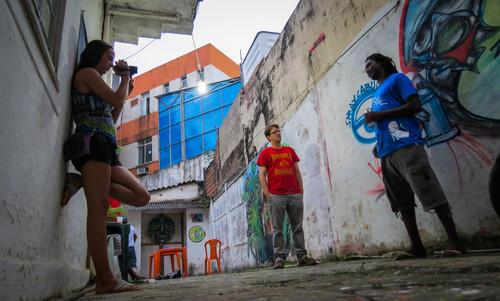 Finn interviewing a graffiti artist Marcos Costa Brazil 2012