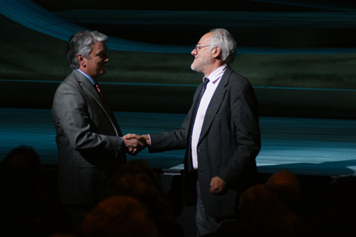 Tom Quaintance and Chris Hanna at the Opening Night performance of  I Sing the Rising Sea.