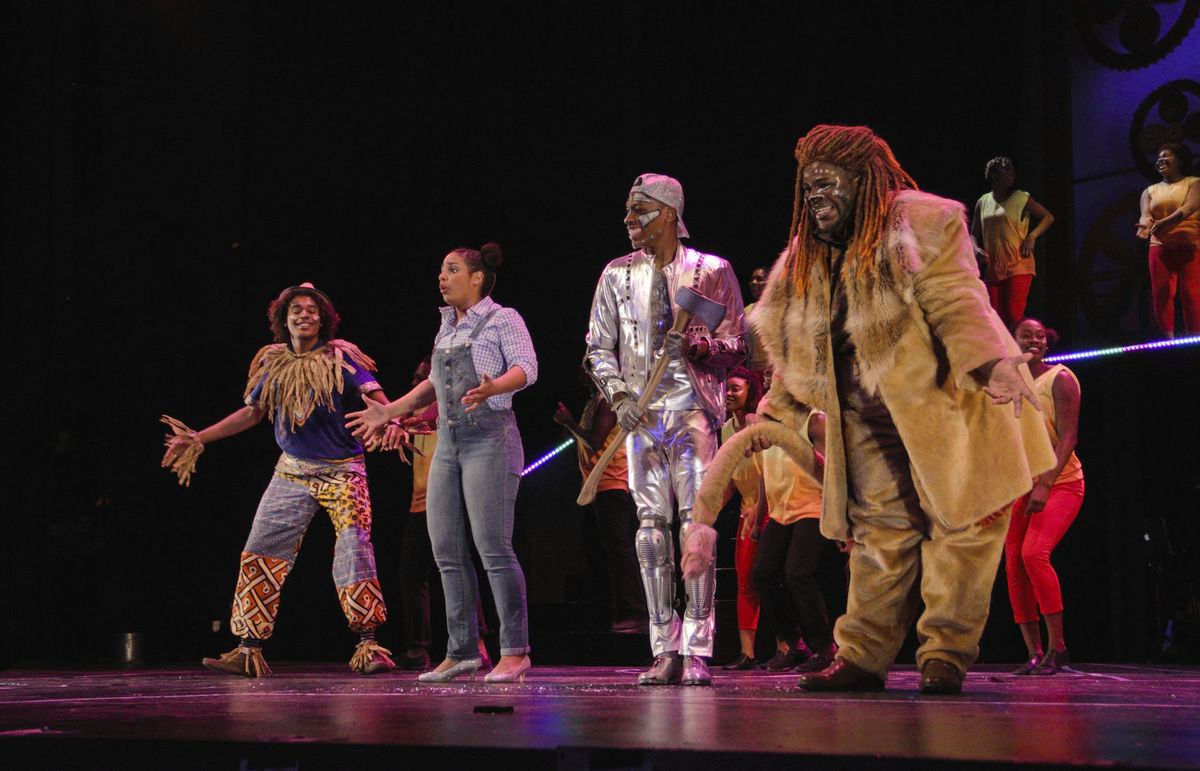 """Starring in """"The Wiz"""" are: from left, Matthew Jackson as Scarecrow, Alana Houston as Dorothy, Jonathan Cooper as Tin Man and Darius Nelson as Lion. (photo by Samuel W. Flint)"""