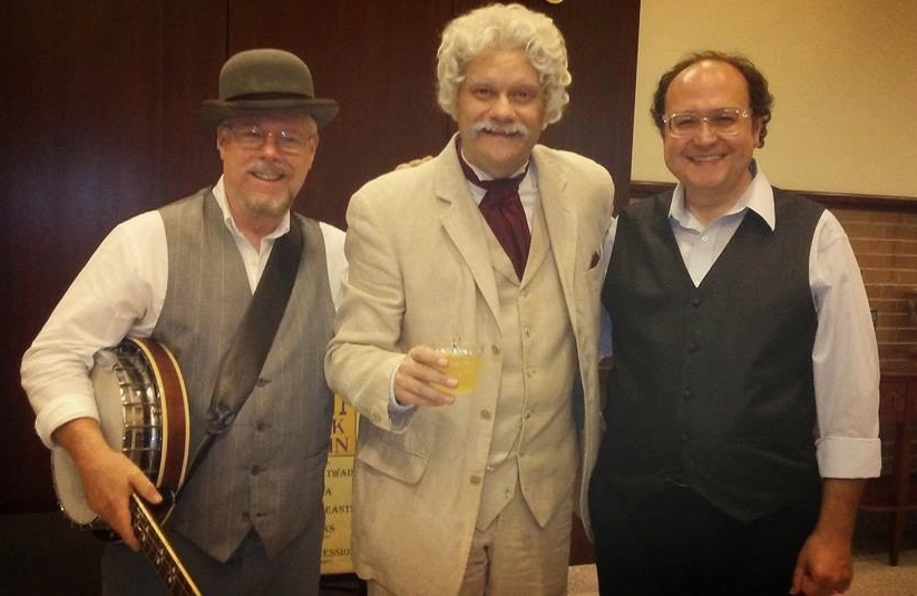 Reg Lanning, Ryan Clemens as Mark Twain and Samuel W. Flint