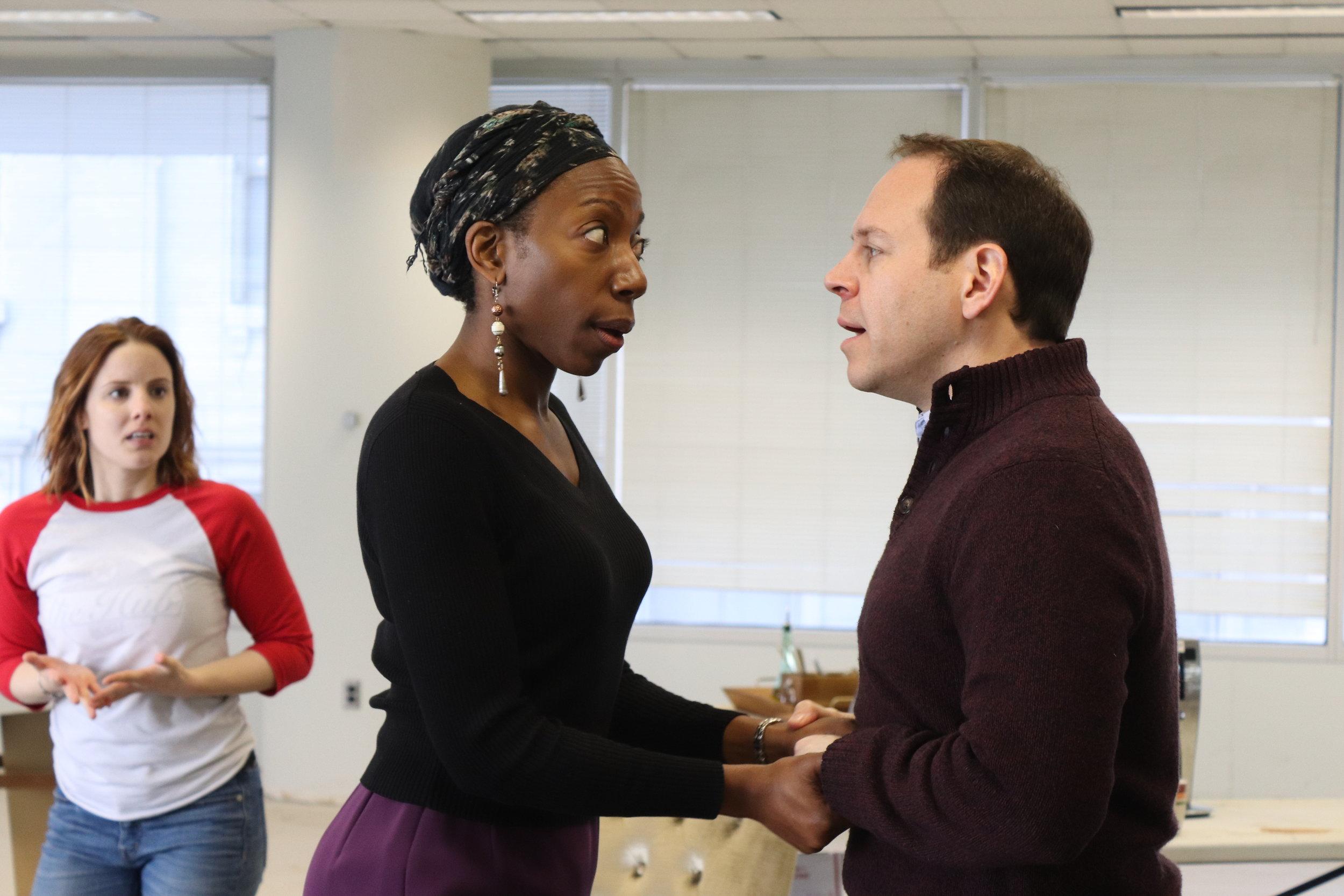 Anna Sundberg, Joy Jones, and Simon Feil in rehearsal for Virginia Stage Company's production of  Disgraced.