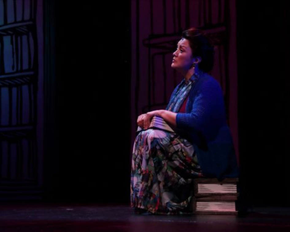 Summer camp teaching artist Laura Agudelo as Mrs. Phelps in MATILDA THE MUSICAL. Photo by Samuel W. Flint