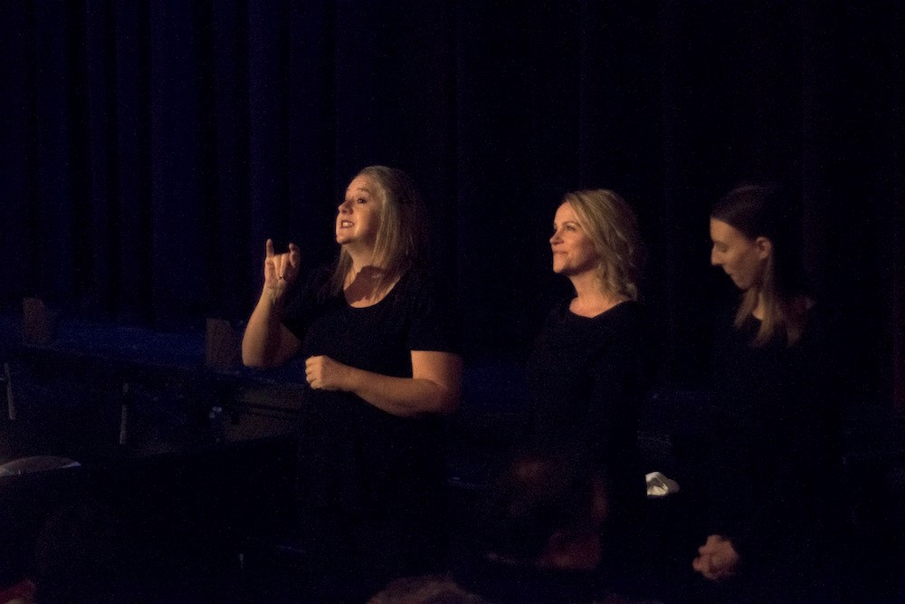 ASL Interpreting made possible, in part, by The Language Group. Photo by Jeff Hewitt