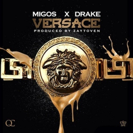 "The single cover for Migos' popular single, ""Versace,"" featuring Drake."