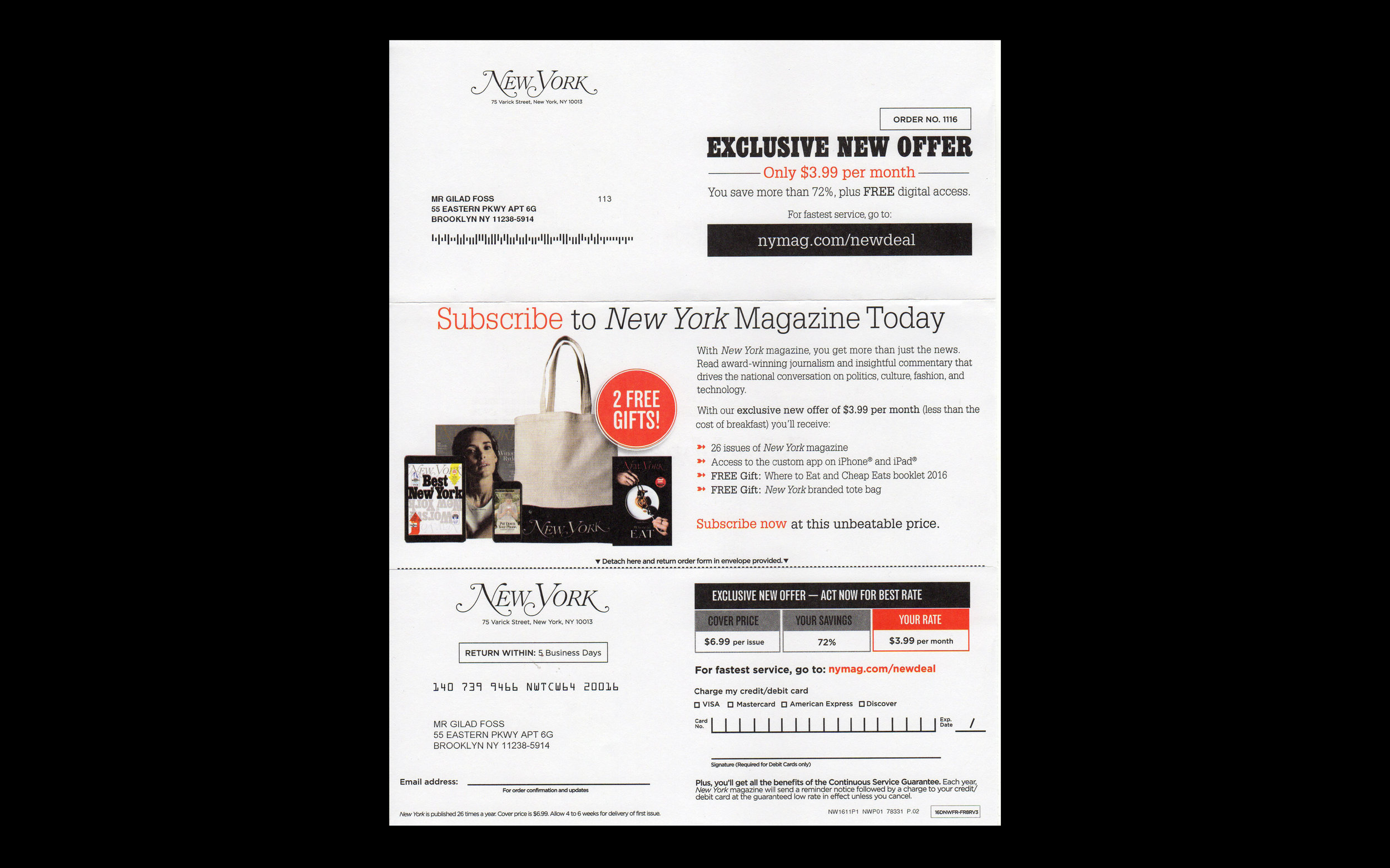 New York Magazine: Subscription Renewal Offer