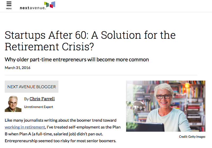This    next avenue article by regular contributor Chris Farrell supports the argument that I have been making for the existence of 50Plus Nation.